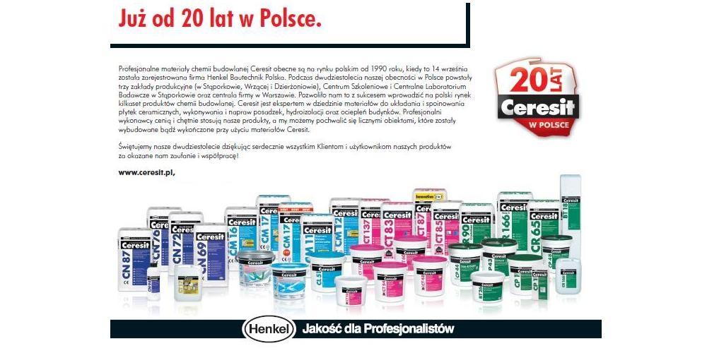 Ceresit, Thomsit i Pattex to sztandarowe marki Henkel Adhesive Technologies, działu Henkel Polska specjalizującego się w produkcji klejów, chemii budowlanej i technologii stosowanych w przemyśle. Produkowane pod marką Ceresit materiały chemii budowlanej obecne są na polskim rynku od 1990 roku. Światowa historia marki trwa natomiast nieprzerwanie od ponad 100 lat.